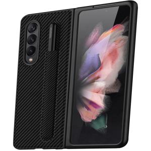Tough-JAK Cross Grain Samsung Galaxy Z Fold 3 S Pen Leather Style Case - Black MS000935