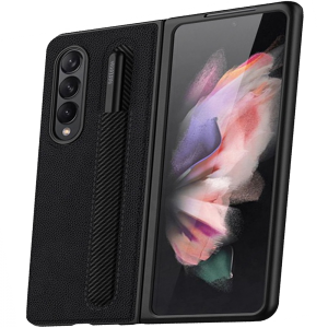 Tough-JAK Samsung Galaxy Z Fold 3 S Pen Leather-Style Case - Black MS000933