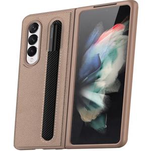 Tough-JAK Samsung Galaxy Z Fold 3 S Pen Leather-Style Case - Gold MS000936