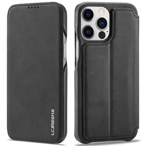 LCMeeke Luxurious iPhone 13 Mini Leather Style Flip Case - Black MS000926