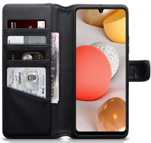 Samsung Galaxy A42 5G Real Leather Wallet Case - Black MS000381