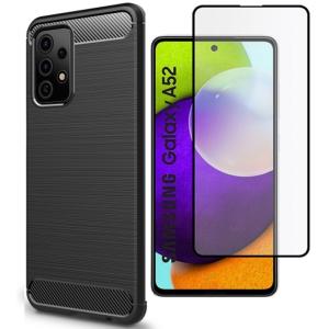 Tough-JAK Samsung Galaxy A52s - A52 5G Carbon Fiber Case & Screen Protector - Black MS000922