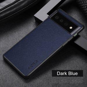 Aioria Cross Grain Leather-Style Google Pixel 6 Pro Case - Blue MS000973