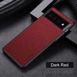 Aioria Cross Grain Leather-Style Google Pixel 6 Pro Case - Red MS000976
