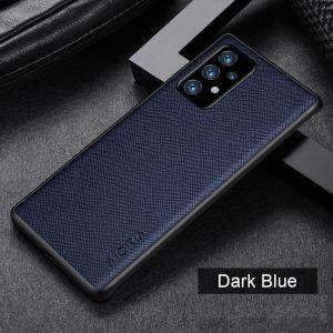 Aioria Cross Grain Leather-Style Samsung Galaxy A52 - A52s Case - Blue MS000979