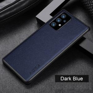 Aioria Cross Grain Samsung Galaxy A03s Leather Case Cover - Dark Blue MS000911
