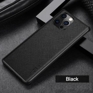 Aioria iPhone 13 Pro Max Cross Grain Leather Cover Case - Black