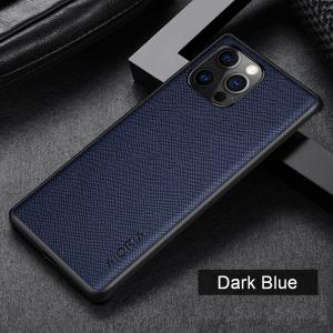 Aioria iPhone 13 Cross Grain Leather Cover Case - Dark Blue MS000867