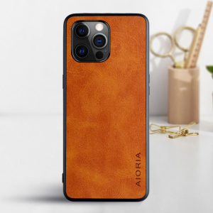 Aioria iPhone 13 Mini Leather Cover Case - Brown  MS000872