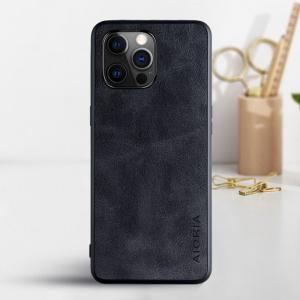 Aioria iPhone 13 Pro Max Leather Cover Case - Black MS000881