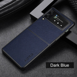 Aioria Samsung Galaxy Z Flip 3 Cross Grain Leather Cover Case - Dark Blue