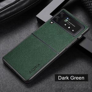 Aioria Samsung Galaxy Z Flip 3 Cross Grain Leather Cover Case - Green MS000884