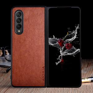 Aioria Samsung Galaxy Z Fold 3 Leather Case - Dark Brown