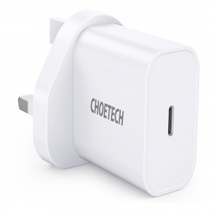 Choetech 20W Type C Power Delivery 3-Pin UK Charging Plug - White