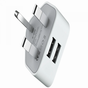 Devia 2.4A Dual USB 3-Pin UK Charging Plug - White