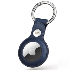 ESR Metro Apple AirTag Genuine Leather Protective Skin Case - Blue MS000715