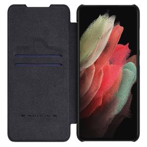 Genuine Leather Samsung Galaxy S21 FE Nillkin Qin Series Case - Black MS000748