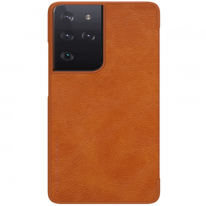 Genuine Nillkin Qin Series Leather Samsung Galaxy S22 Plus Case - Brown