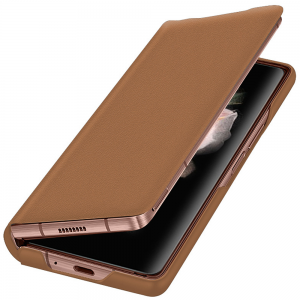 Leather Samsung Galaxy Z Fold 3 5G Flip Cover Case - Brown MS000843