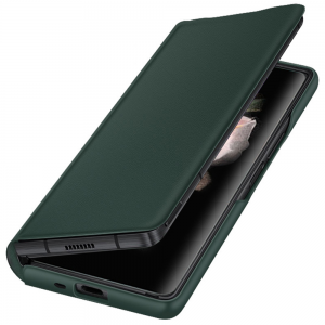 Leather-Style Samsung Galaxy Z Fold 3 5G Flip Cover Case - Green MS000851