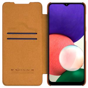 Genuine Leather Samsung Galaxy A22 5G Nillkin Qin Series Case - Brown