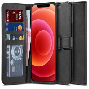 iPhone 12 - 12 Pro Tech-Protect PU Leather Wallet Case - Black MS000280