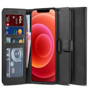 iPhone 12 Mini Tech-Protect PU Leather Wallet Case - Black MS000260