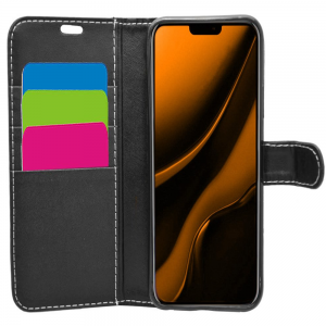 iPhone 12 PU Leather Wallet Case - Black