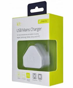 Kit 2.1A USB 3-Pin UK Charging Plug - White