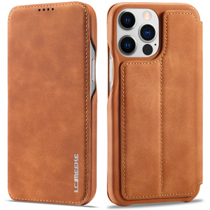 LCMeeke Luxurious iPhone 13 Mini Leather Style Flip Case - Brown MS000928