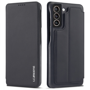 LCMeeke Luxurious Samsung Galaxy S21 FE Leather Style Flip Case - Black MS000940