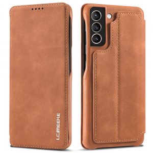 LCMeeke Luxurious Samsung Galaxy S21 FE Leather Style Flip Case - Brown MS000937