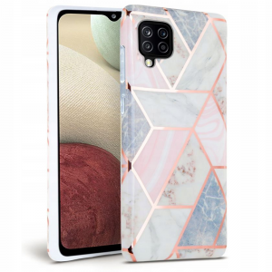 Samsung Galaxy A12 Tech Protect Marble Case Cover - Pink MS000561