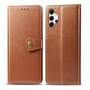 Samsung Galaxy A32 5G Magnetic Closure PU Leather Wallet Case Cover - Brown MS000559