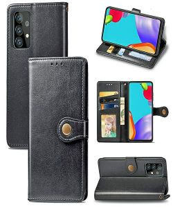 Samsung Galaxy A52 Magnetic Closure PU Leather Wallet Case Cover - Black