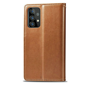Samsung Galaxy A52 Magnetic Closure PU Leather Wallet Case Cover - Brown MS000550