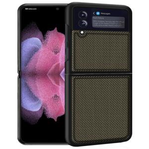 Samsung Galaxy Z Flip 3 5G Carbon Fiber Back Cover Case - Gold MS000832