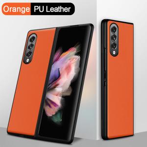 Samsung Galaxy Z Fold 3 5G PU Leather Back Cover Case - Orange MS00085