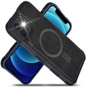 Tough-JAK Magsafe iPhone 13 Mini Leather Case - Black MS000903