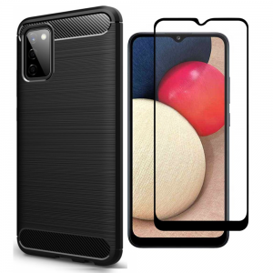 Tough-JAK Samsung Galaxy A03s Carbon Fiber Case & Screen Protector - Black MS000917