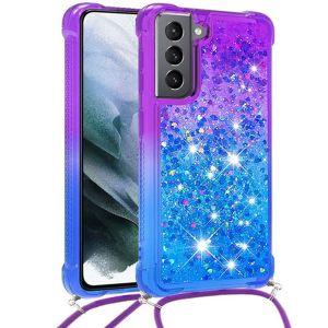 Tough-JAK Samsung Galaxy S21 FE Glitter Lanyard Case Cover - Blue