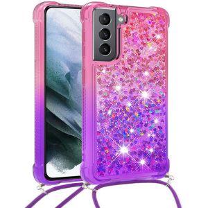 Tough-JAK Samsung Galaxy S21 FE Glitter Lanyard Case Cover - Pink MS0001006