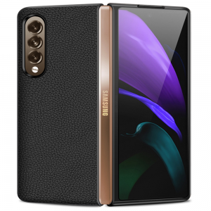 Leather-Style Samsung Galaxy Z Fold 3 5G Back Cover Case - Black MS000844