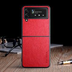 Aioria Classic Leather Samsung Galaxy z Flip 3 Case - Red MS000830