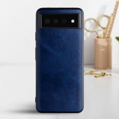 Aioria Coque Google Pixel 6 Leather Case Cover - Blue MS000859
