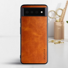 Aioria Coque Google Pixel 6 Leather Case Cover - Brown MS000857