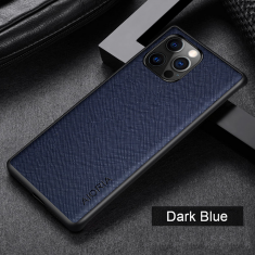 Aioria iPhone 13 Mini Cross Grain Leather Cover Case - Dark Blue MS000871