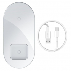 Baseus Simple Pro 2 in 1 Wireless Charger - White MS000327