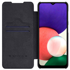 Genuine Leather Samsung Galaxy A22 5G Nillkin Qin Series Case - Black MS000754