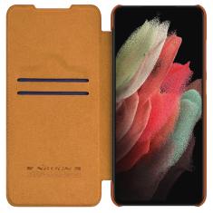 Genuine Leather Samsung Galaxy S21 FE Nillkin Qin Series Case - Brown MS000747